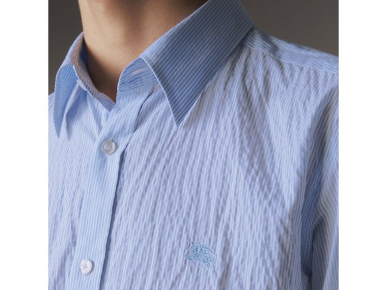 Striped Seersucker Stretch Cotton Shirt - Men | Burberry - cell image 1