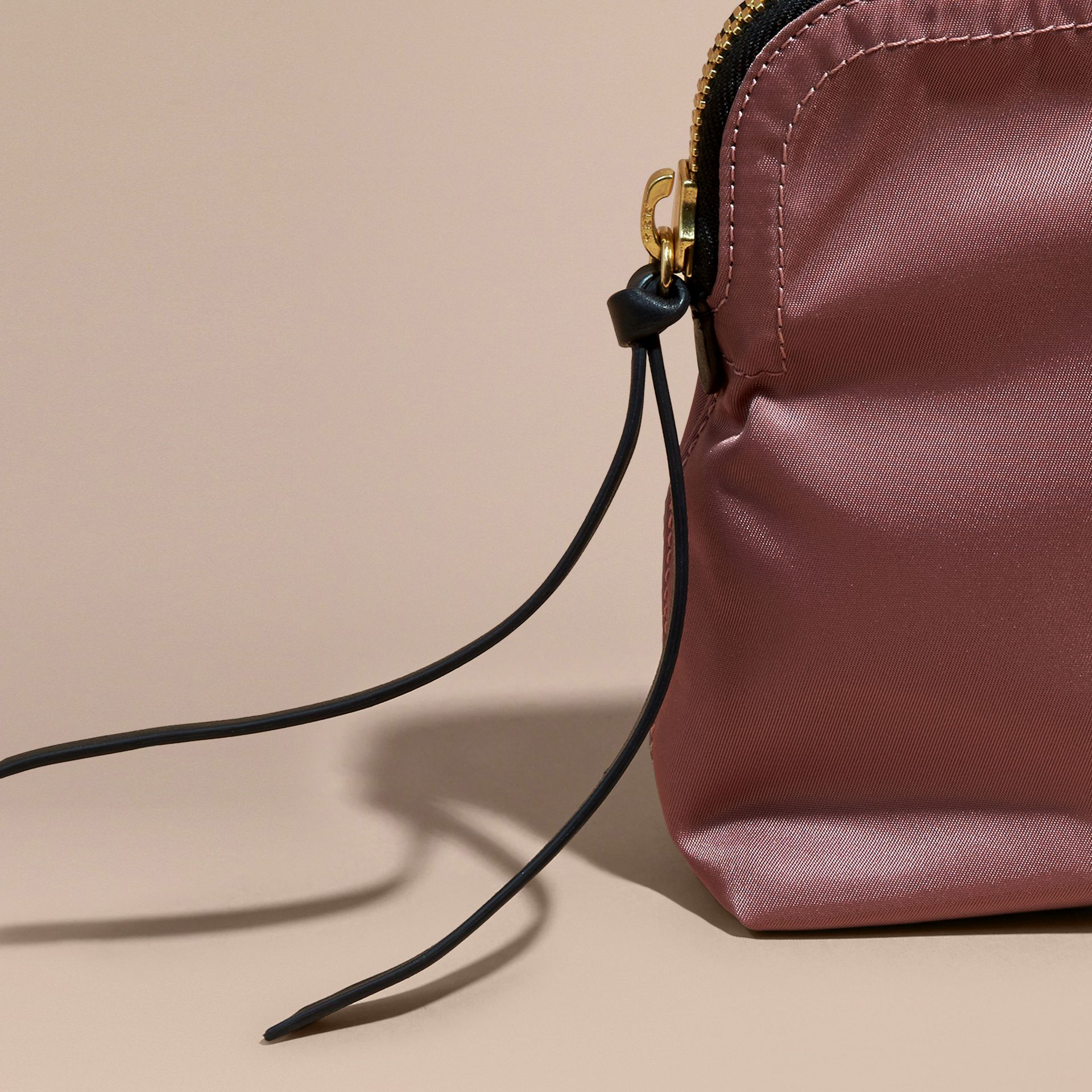 Large Zip-top Technical Nylon Pouch in Mauve Pink - Women | Burberry - gallery image 7