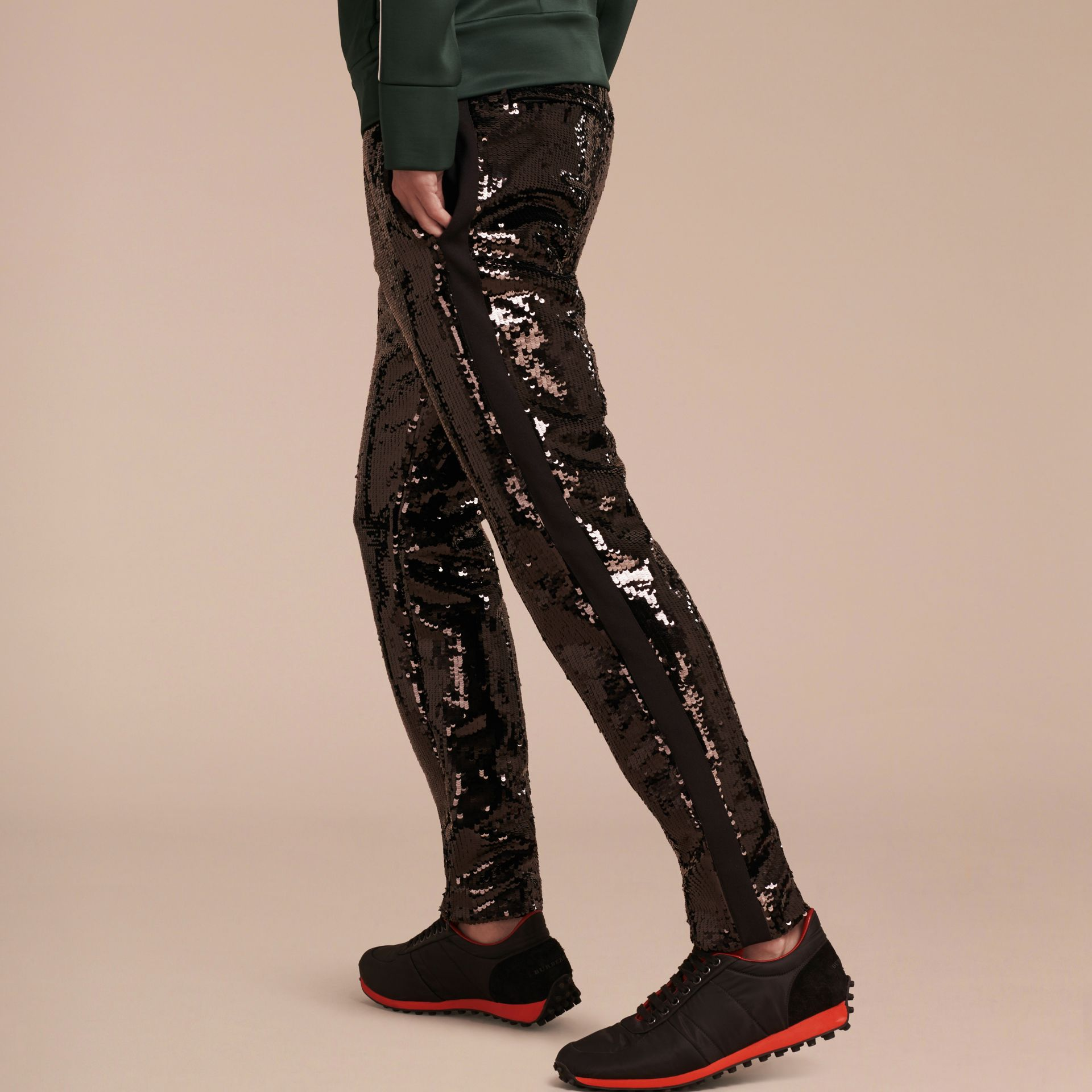 Black Sequin Track Pants - gallery image 3