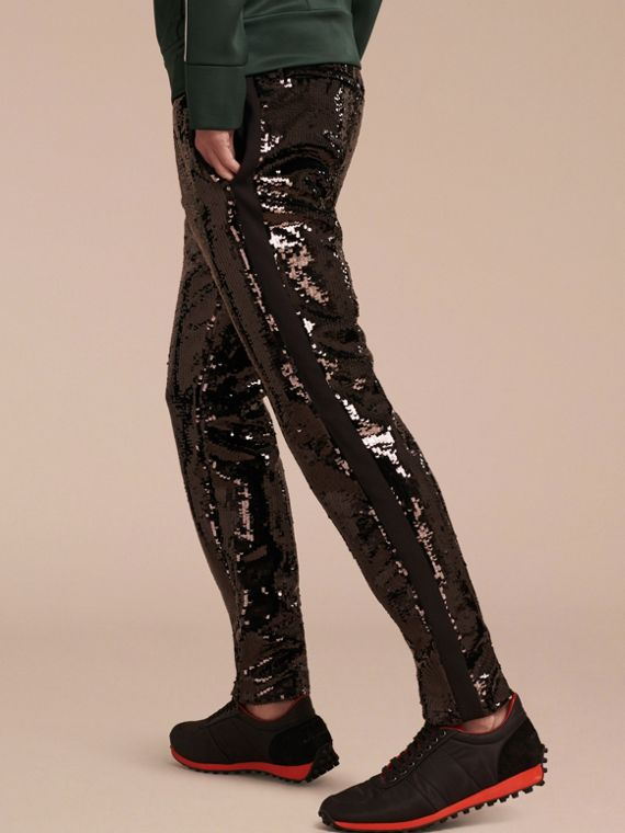 Black Sequin Track Pants - cell image 2