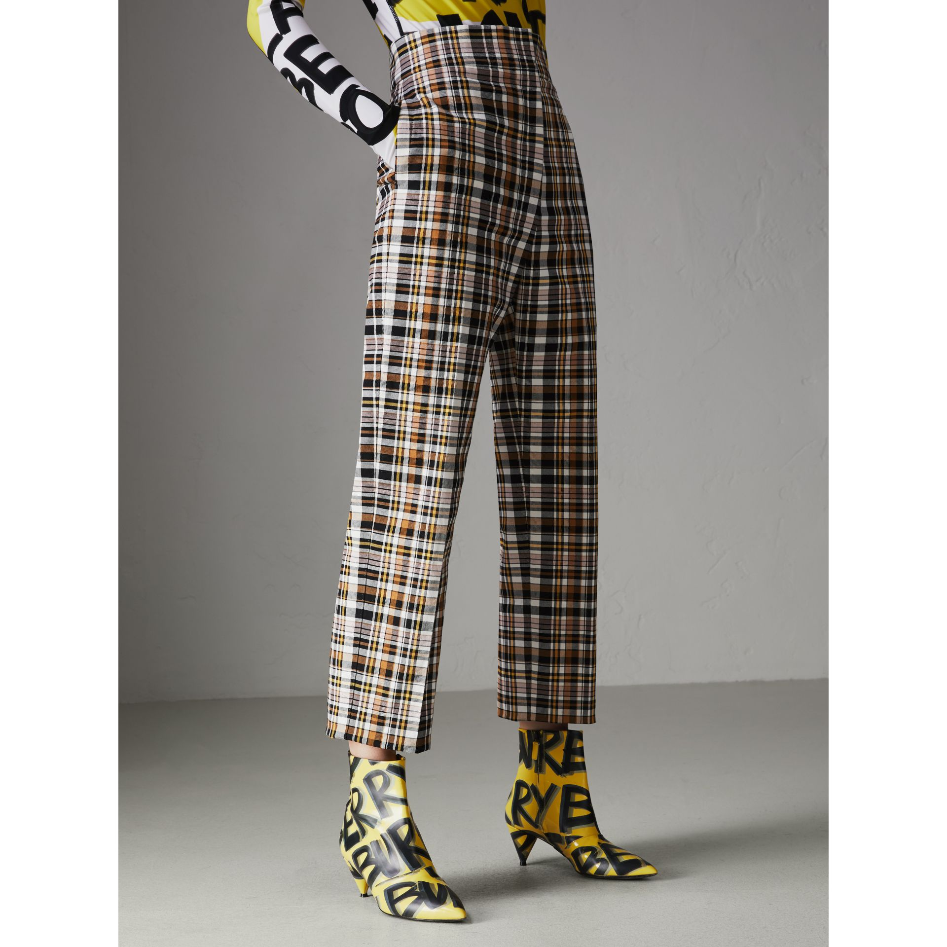 Check Stretch Cotton High-waisted Trousers in Bright Toffee - Women | Burberry - gallery image 4