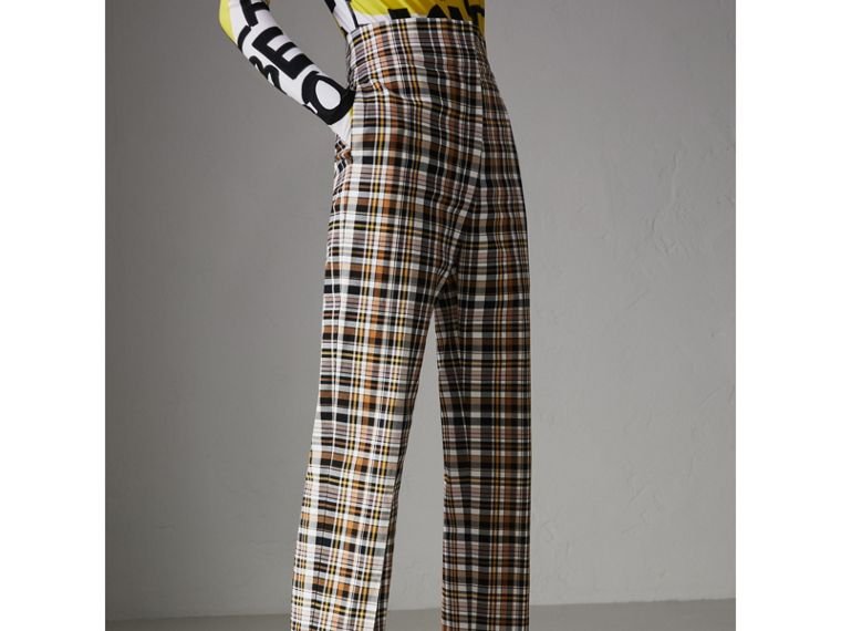 Check Stretch Cotton High-waisted Trousers in Bright Toffee - Women | Burberry United Kingdom - cell image 4