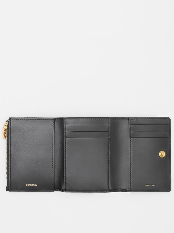 Small Vintage Check and Leather Folding Wallet in Black - Women | Burberry - cell image 2