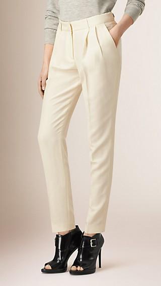 Slim Fit Silk Trousers Parchment