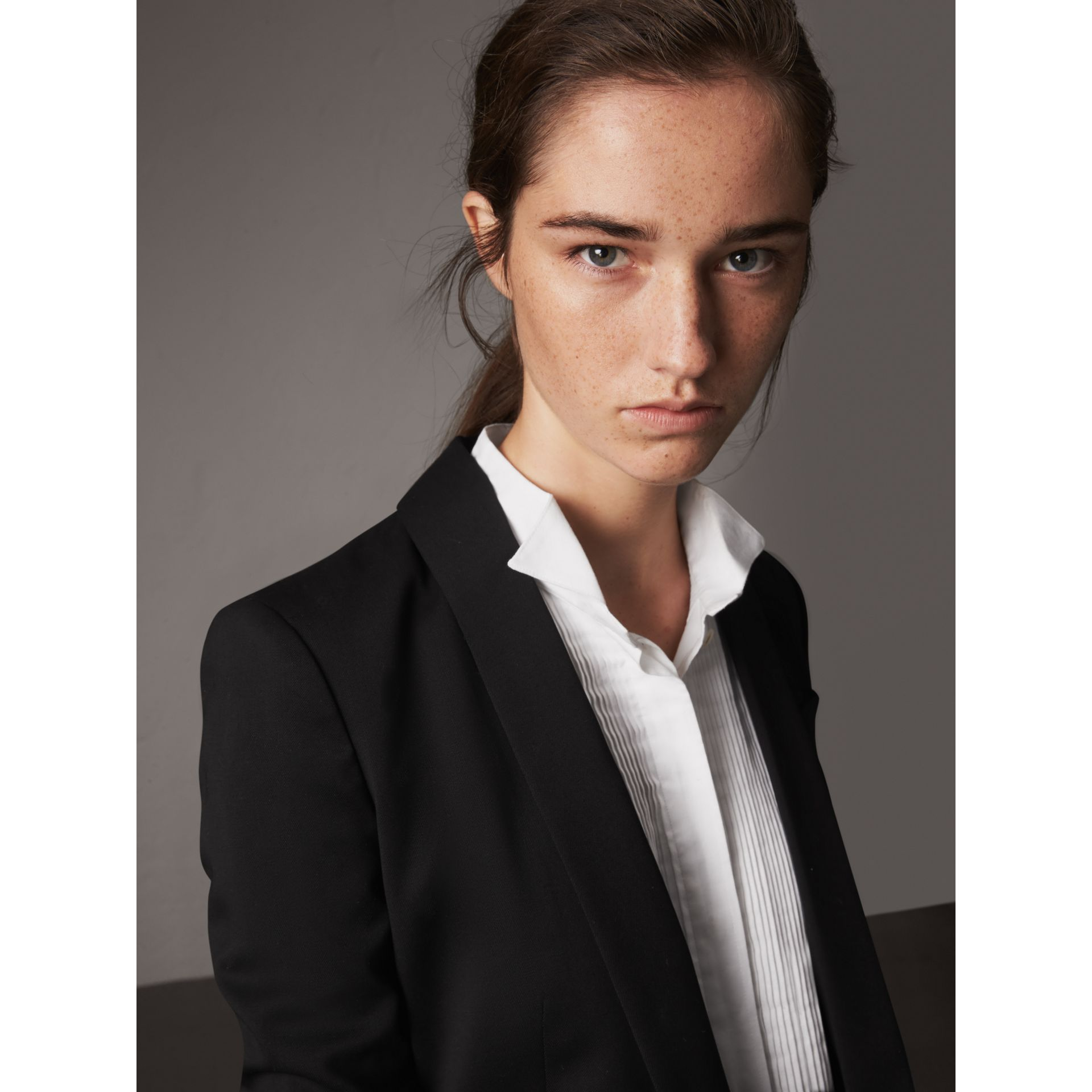 Cinched Waist Wool Tailored Jacket in Black - Women | Burberry - gallery image 2