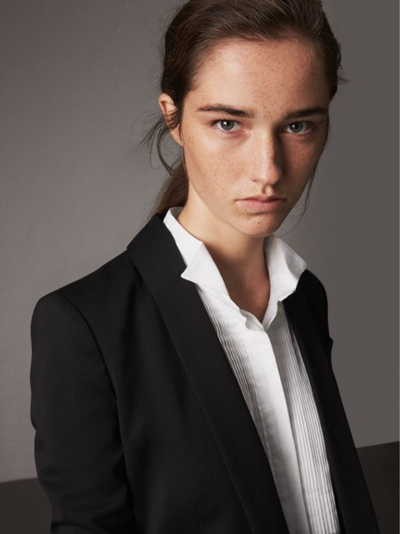 Cinched-waist Wool Tailored Jacket in Black - Women | Burberry - cell image 1