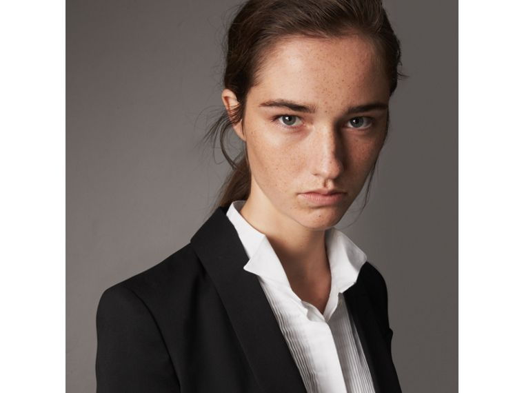 Cinched Waist Wool Tailored Jacket in Black - Women | Burberry - cell image 1