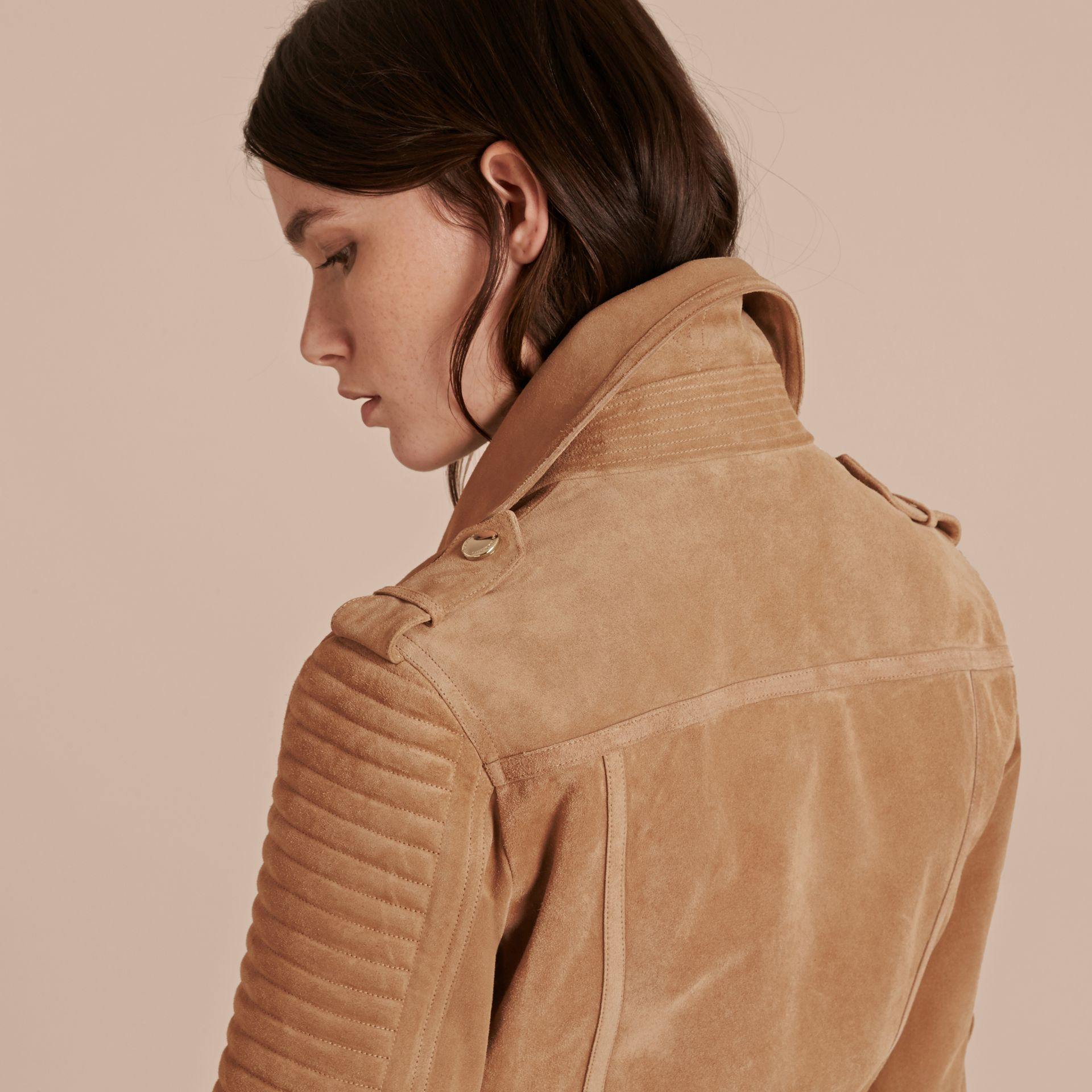 Honey Suede Biker Jacket with Shearling Collar - gallery image 6