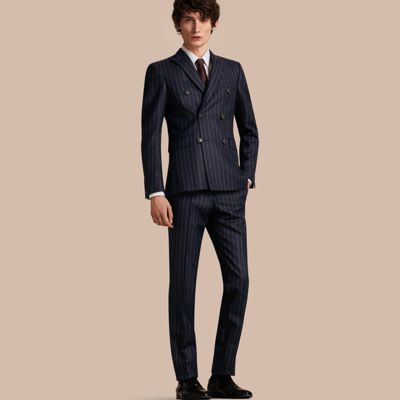 Slim Fit Double-breasted Pinstripe Wool Suit | Burberry
