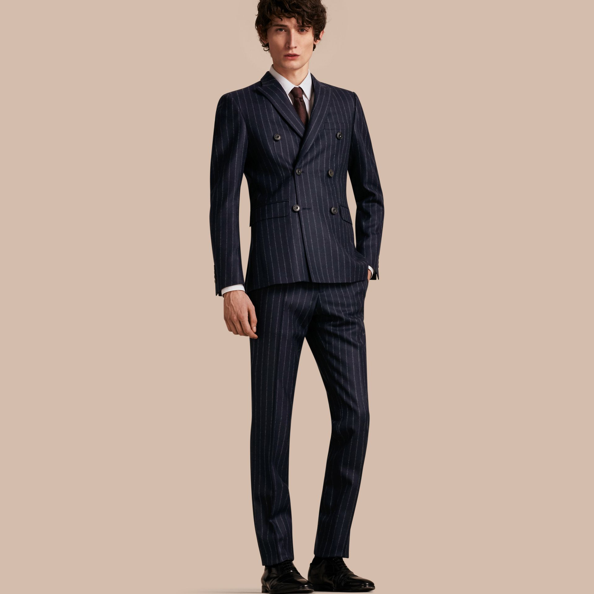Slim Fit Double-breasted Pinstripe Wool Suit - gallery image 1