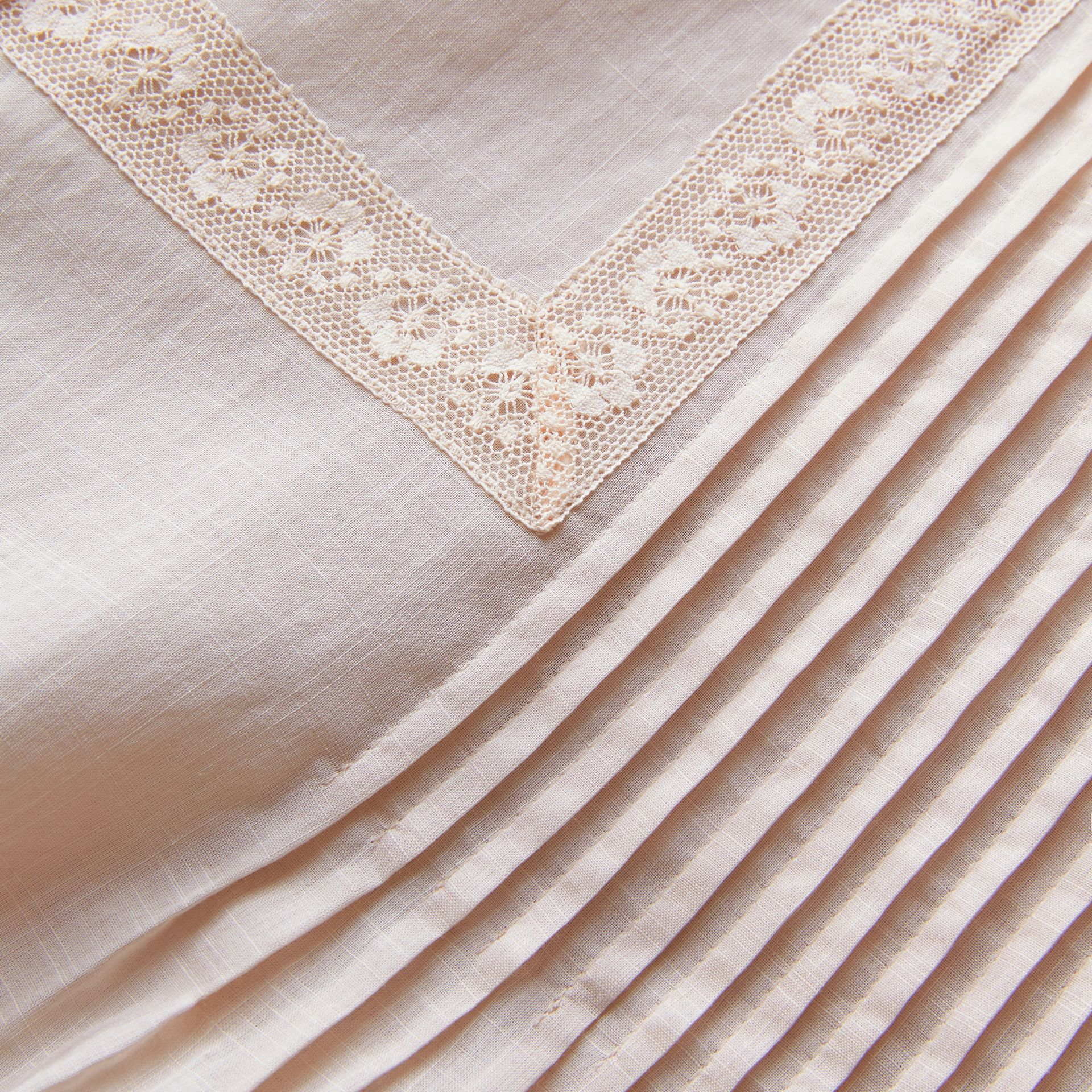 Pintuck and Lace Detail Cotton Dress in Chalk Pink - Women | Burberry - gallery image 2
