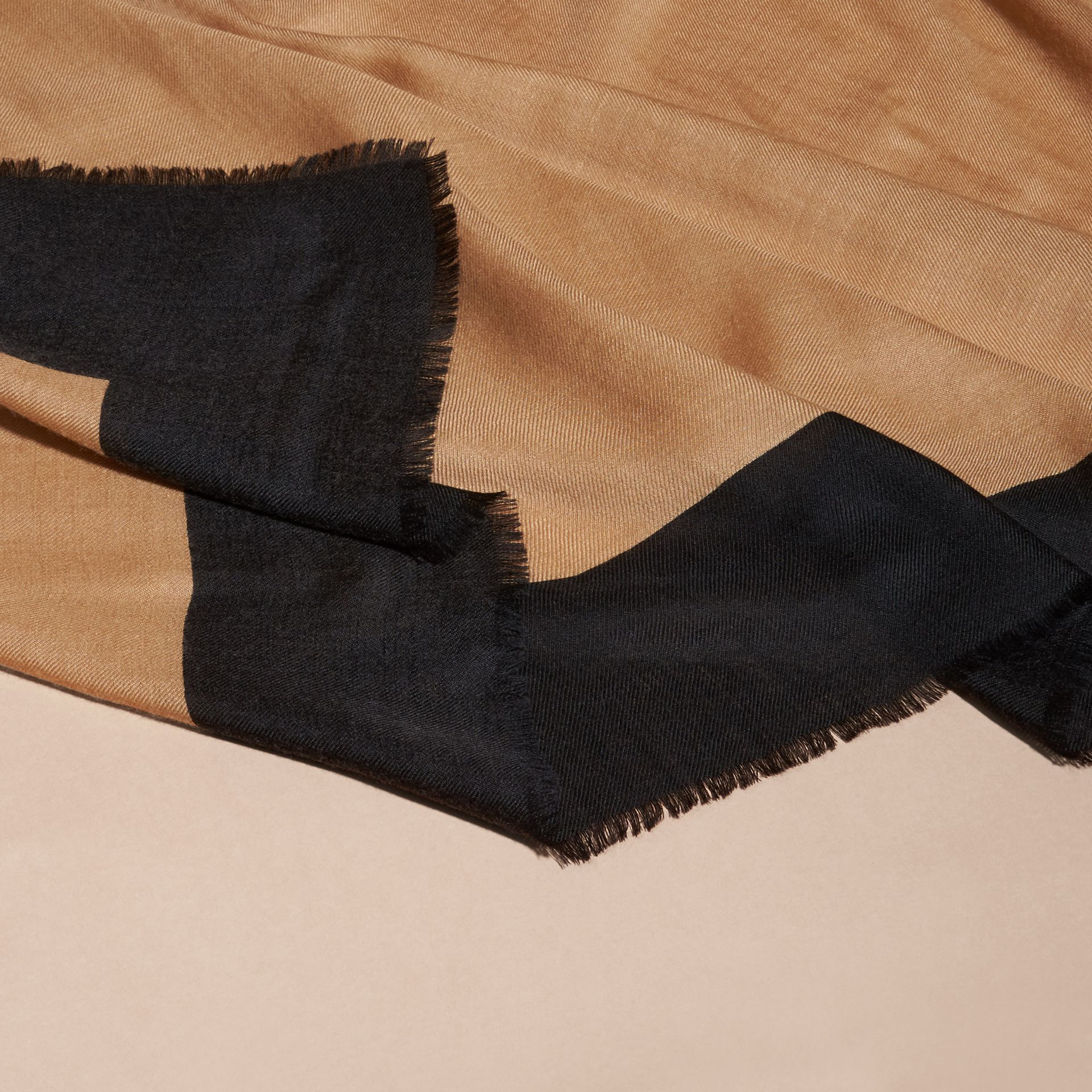 Camel/black Burberry Print Cashmere Scarf - gallery image 2