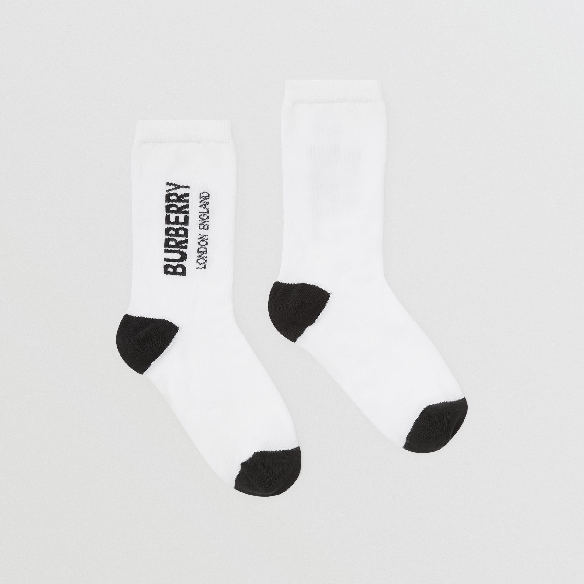 Logo Intarsia Cotton Blend Socks in White/black - Children | Burberry Australia - gallery image 3
