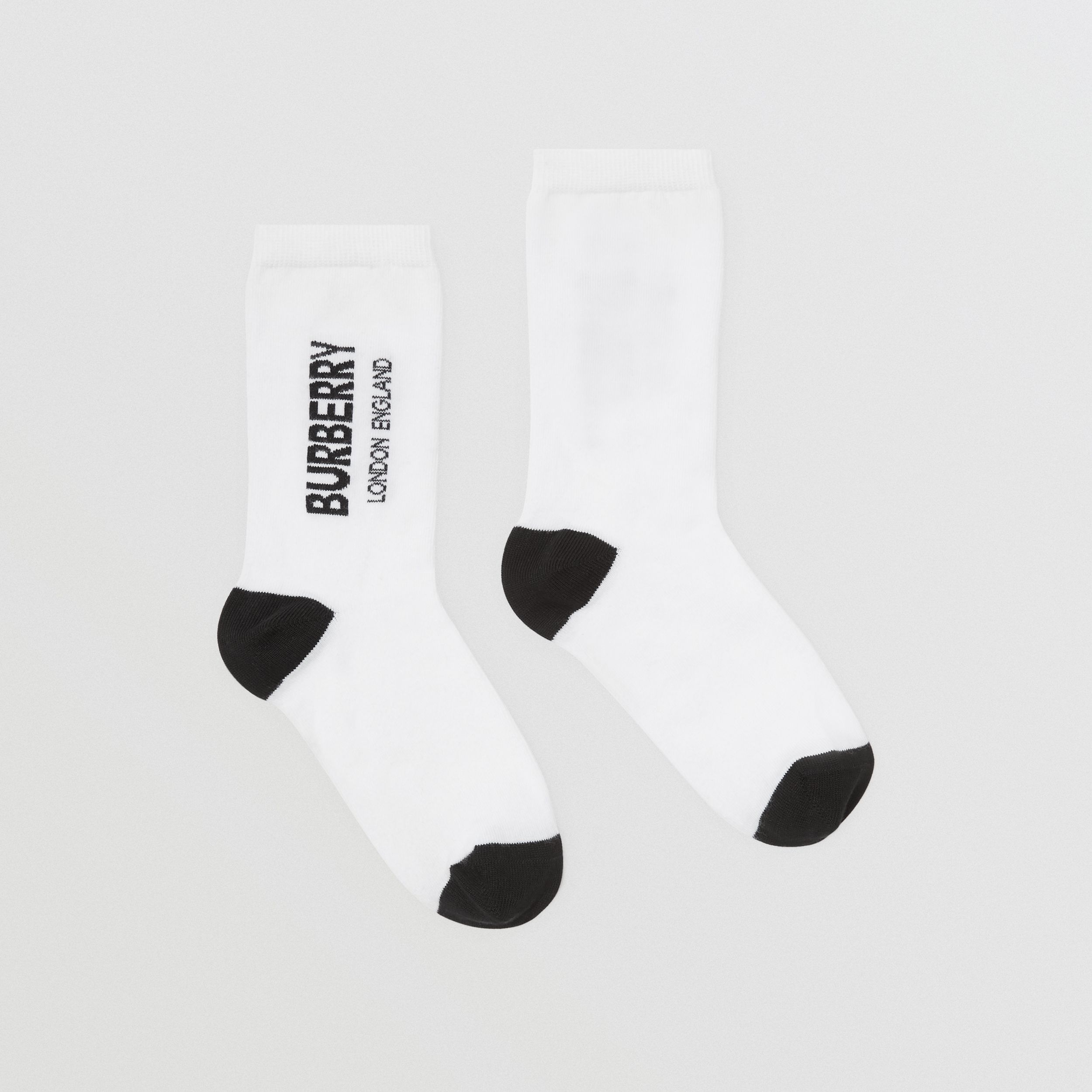 Logo Intarsia Cotton Blend Socks in White/black | Burberry - 4