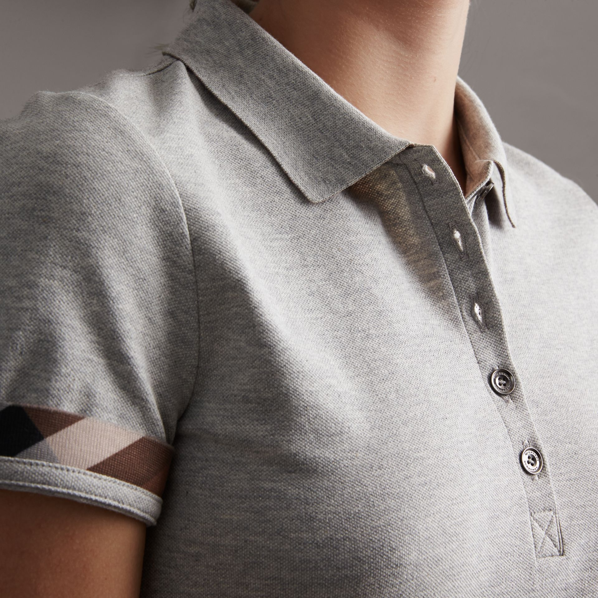 Check Trim Stretch Cotton Piqué Polo Shirt in Pale Grey Melange - Women | Burberry - gallery image 4