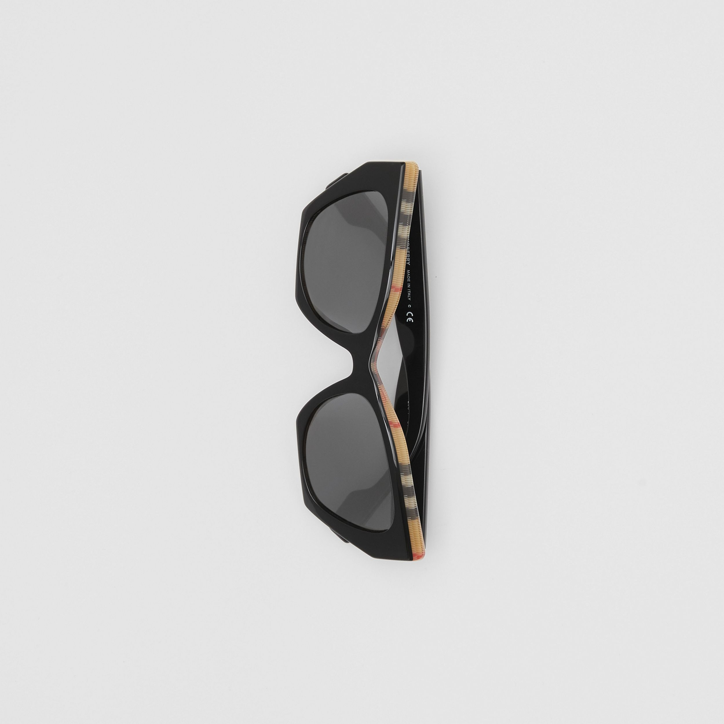 Vintage Check Detail Butterfly Frame Sunglasses in Black/archive Beige - Women | Burberry - 4