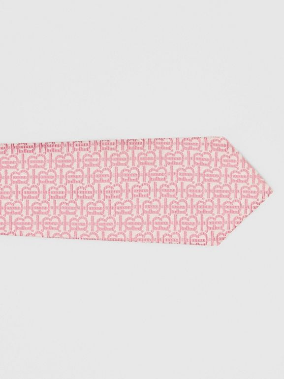 Classic Cut Monogram Silk Jacquard Tie in Alabaster Pink - Men | Burberry - cell image 1