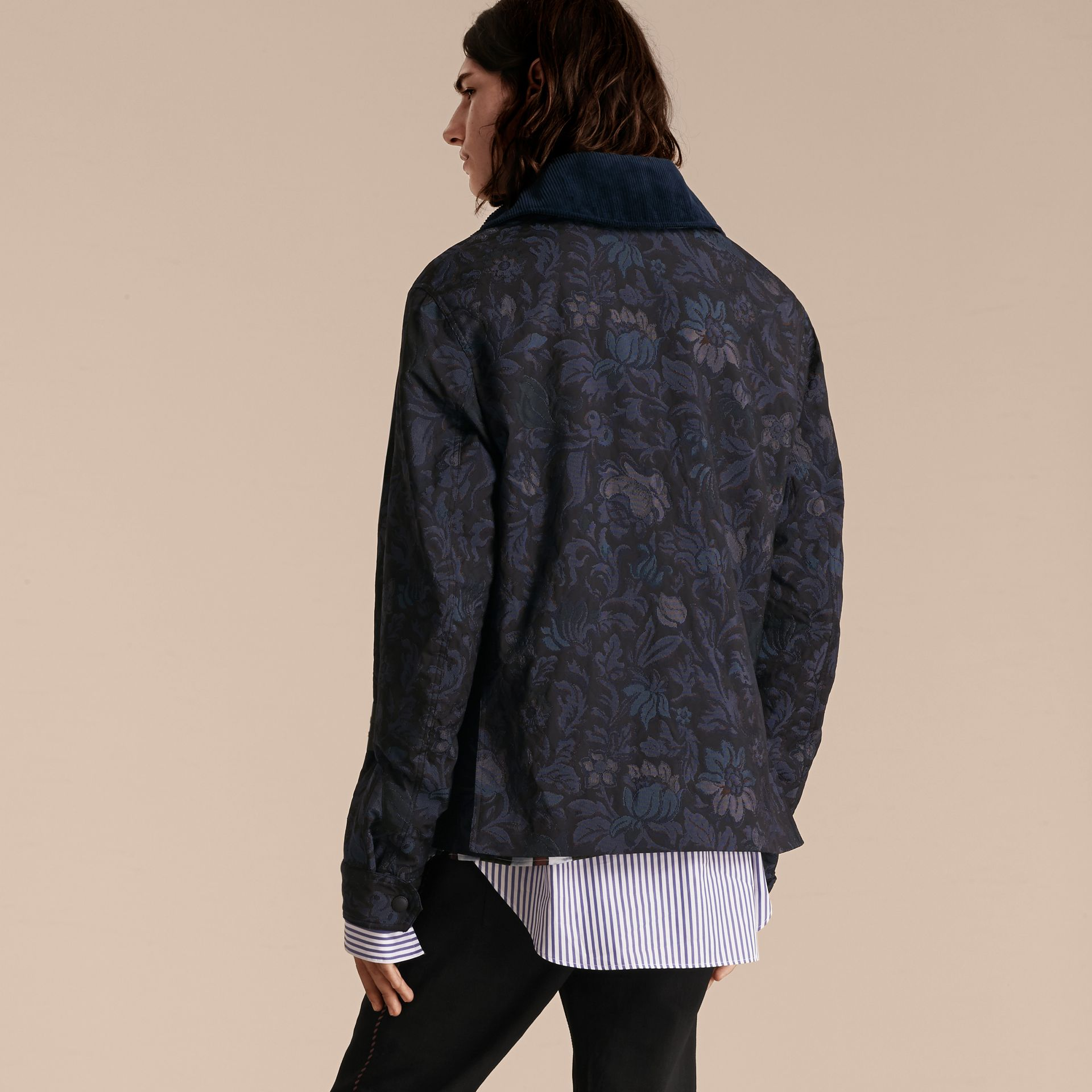 Navy Floral Jacquard Field Jacket with Corduroy Collar - gallery image 3