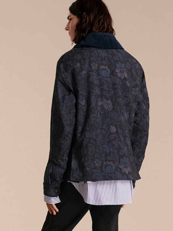 Navy Floral Jacquard Field Jacket with Corduroy Collar - cell image 2
