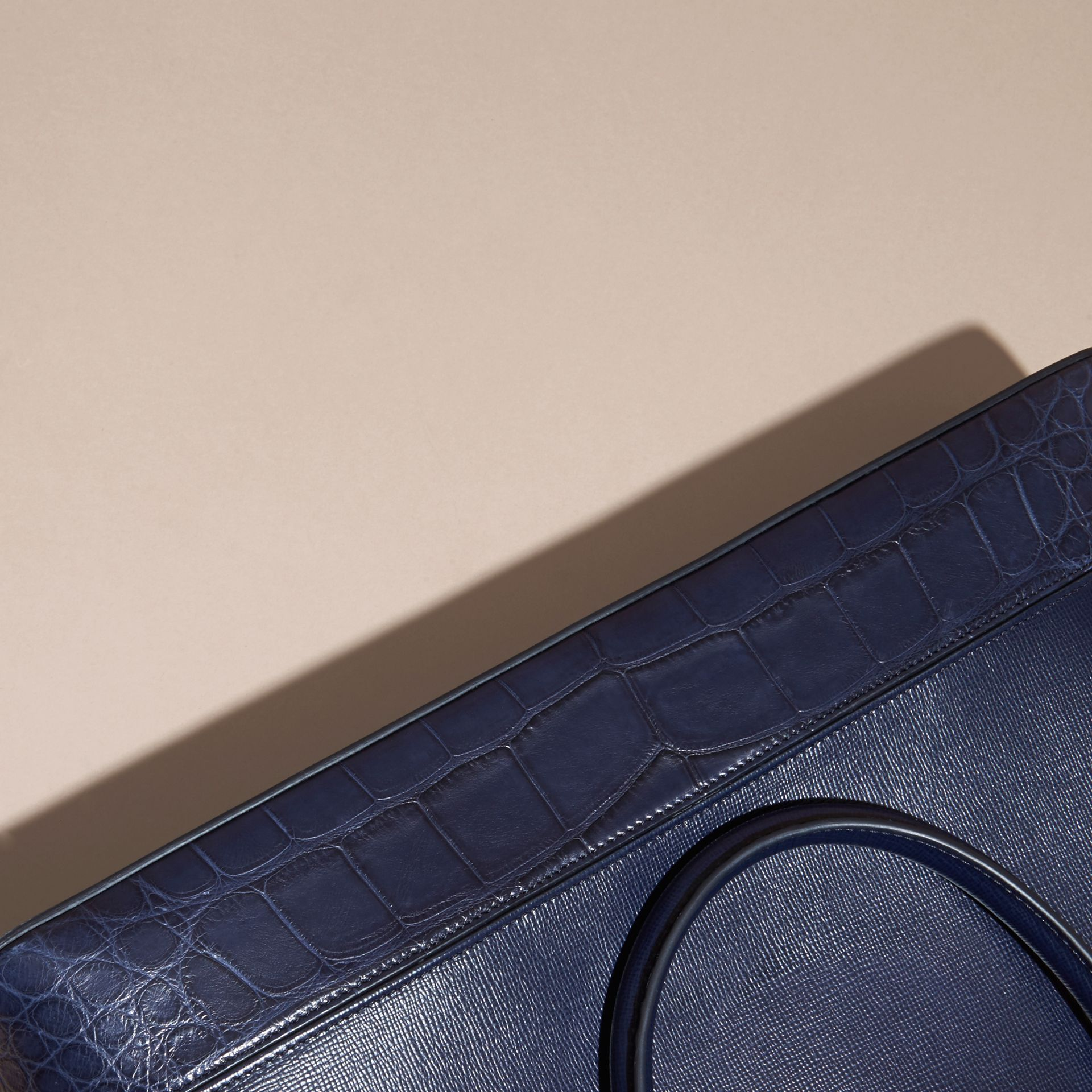 The Slim Barrow in London Leather and Alligator Dark Navy - gallery image 6