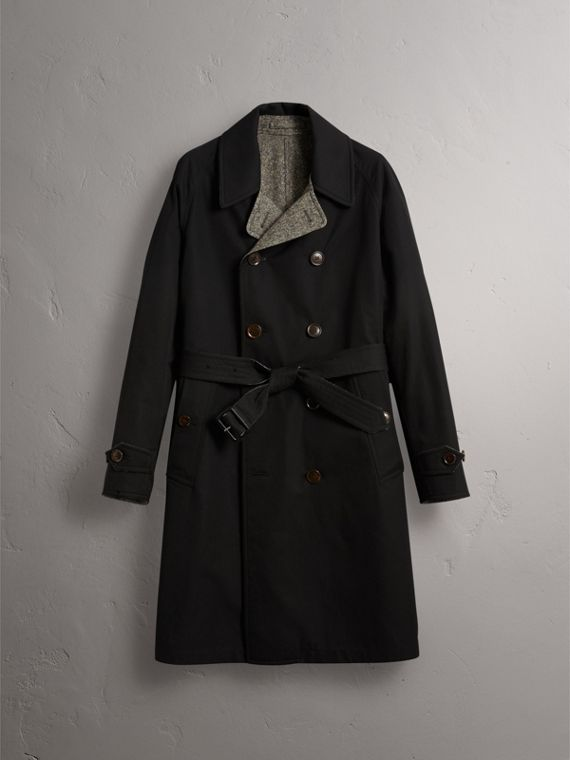 Reversible Donegal Tweed and Gabardine Trench Coat in Black - Men | Burberry - cell image 3