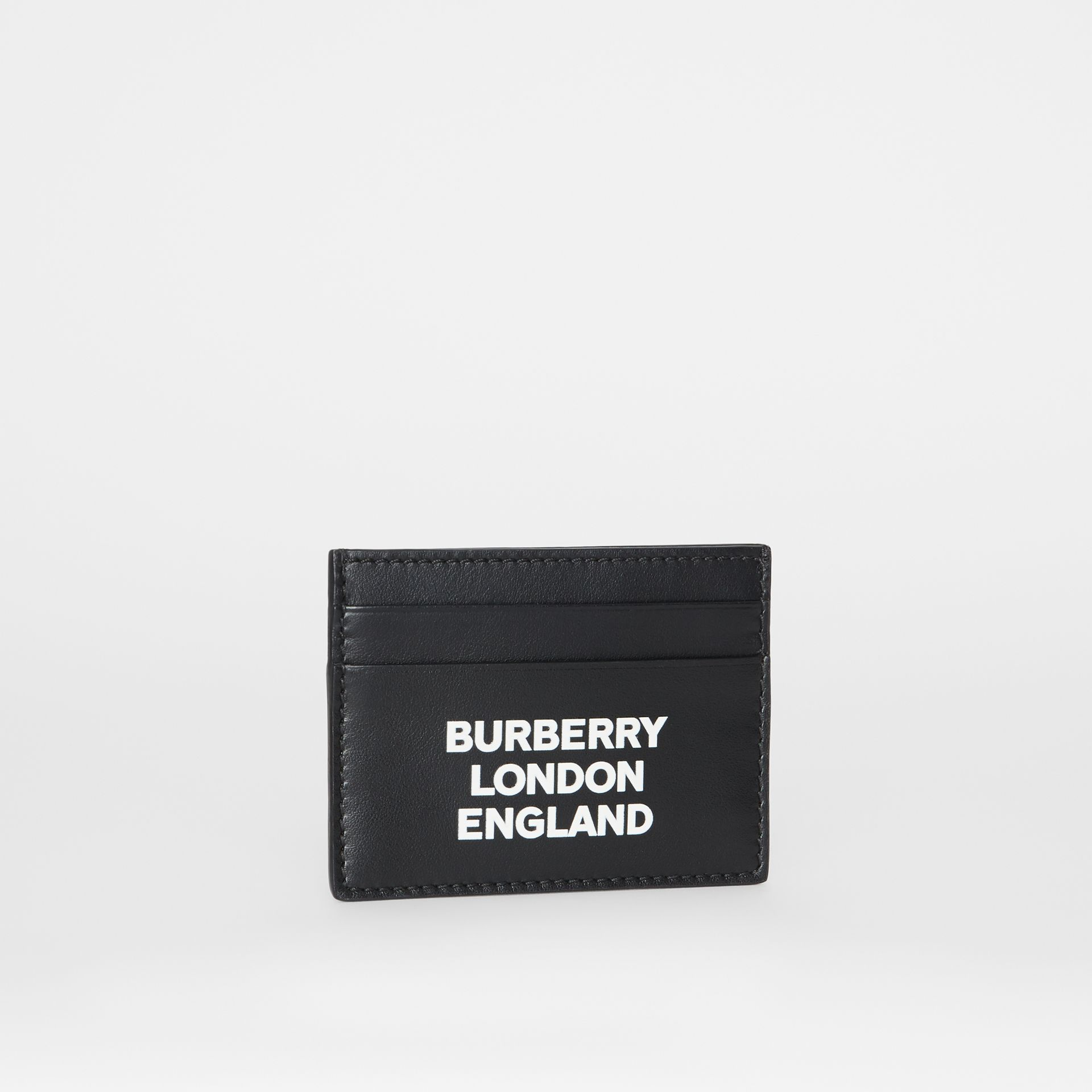 Logo Print Leather Card Case in Black | Burberry - gallery image 3