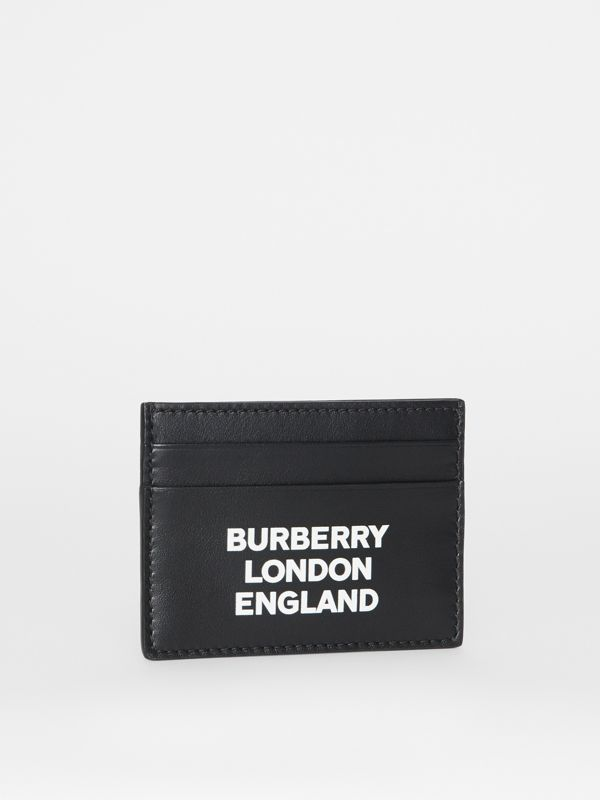 Logo Print Leather Card Case in Black | Burberry - cell image 3