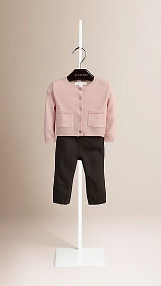 Contrast Sleeve Cashmere Cardigan