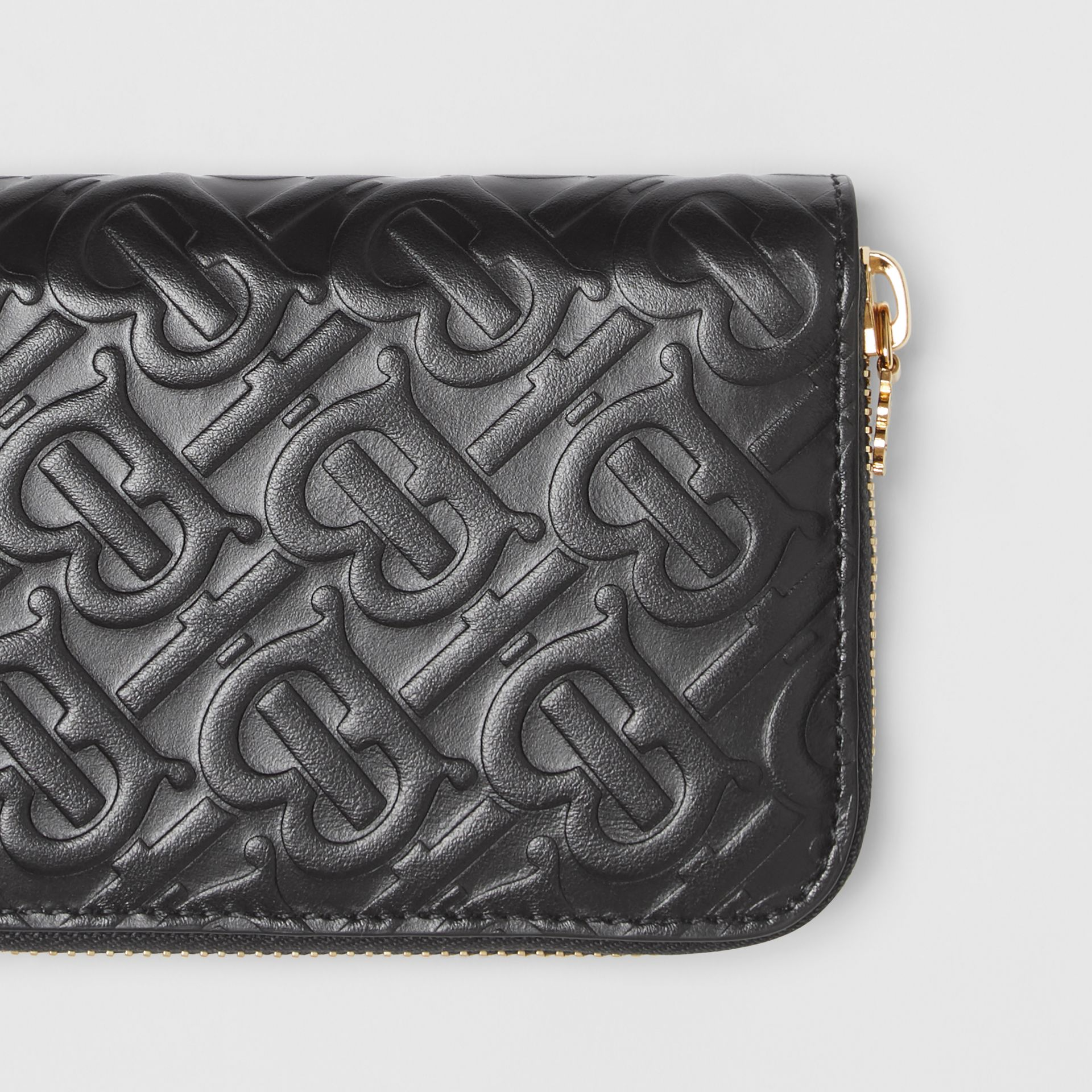Monogram Leather Ziparound Wallet in Black - Women | Burberry - gallery image 1