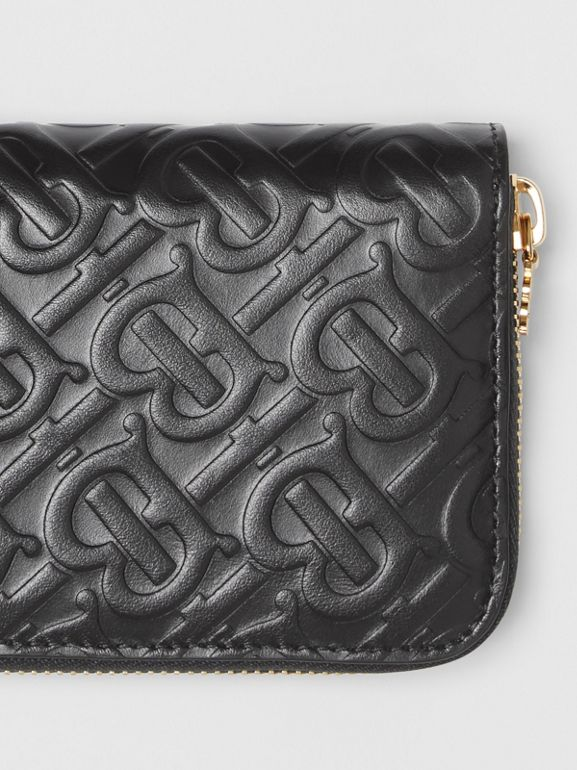 Monogram Leather Ziparound Wallet in Black - Women | Burberry - cell image 1