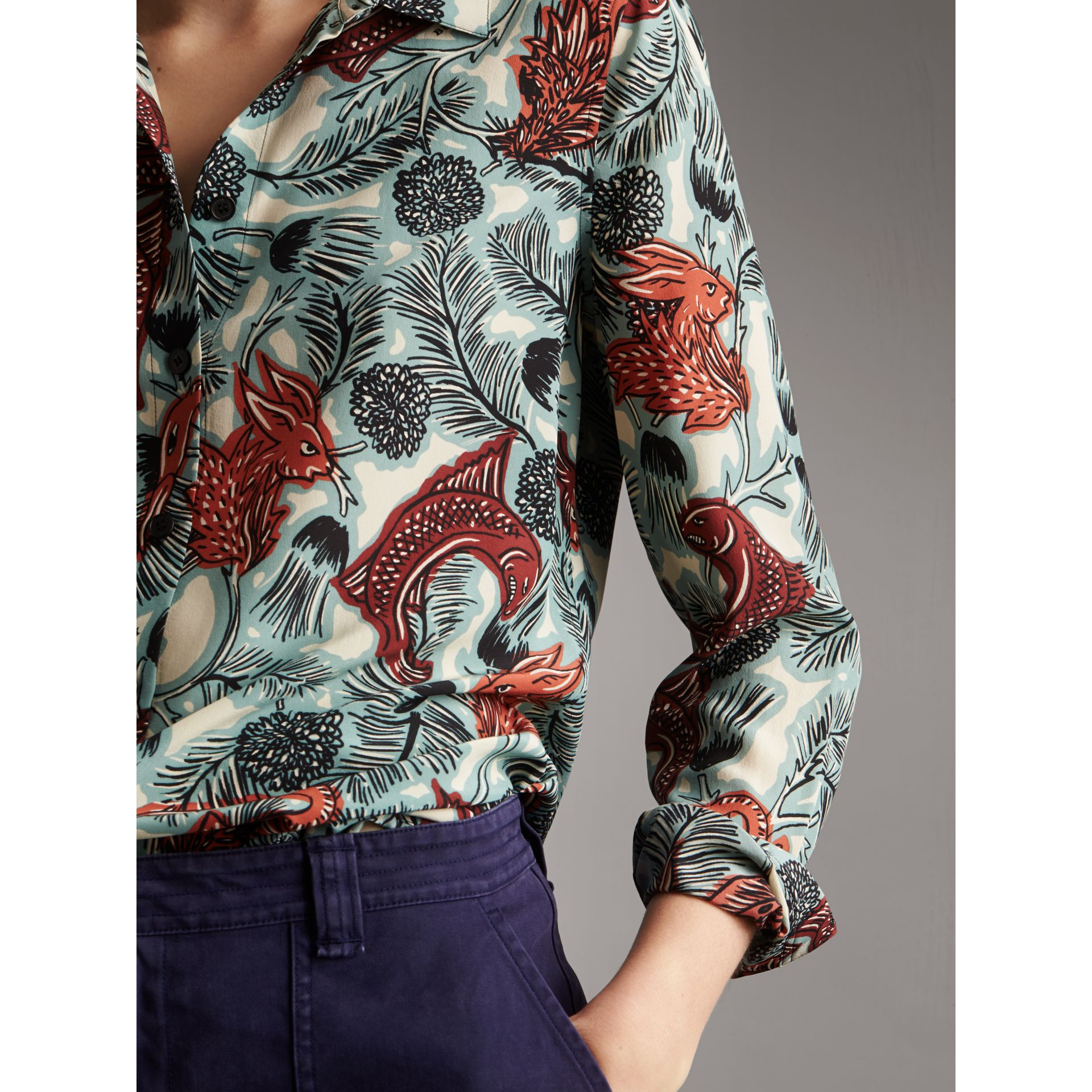 Beasts Print Silk Shirt in Pale Celadon - Women | Burberry - gallery image 2