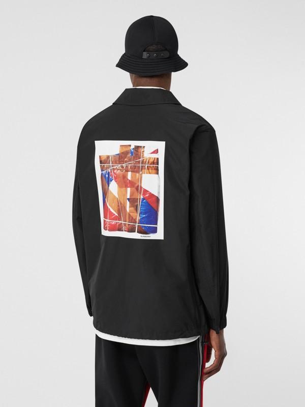 Tape Print Shape-memory Taffeta Jacket in Black - Men | Burberry Hong Kong S.A.R - cell image 2