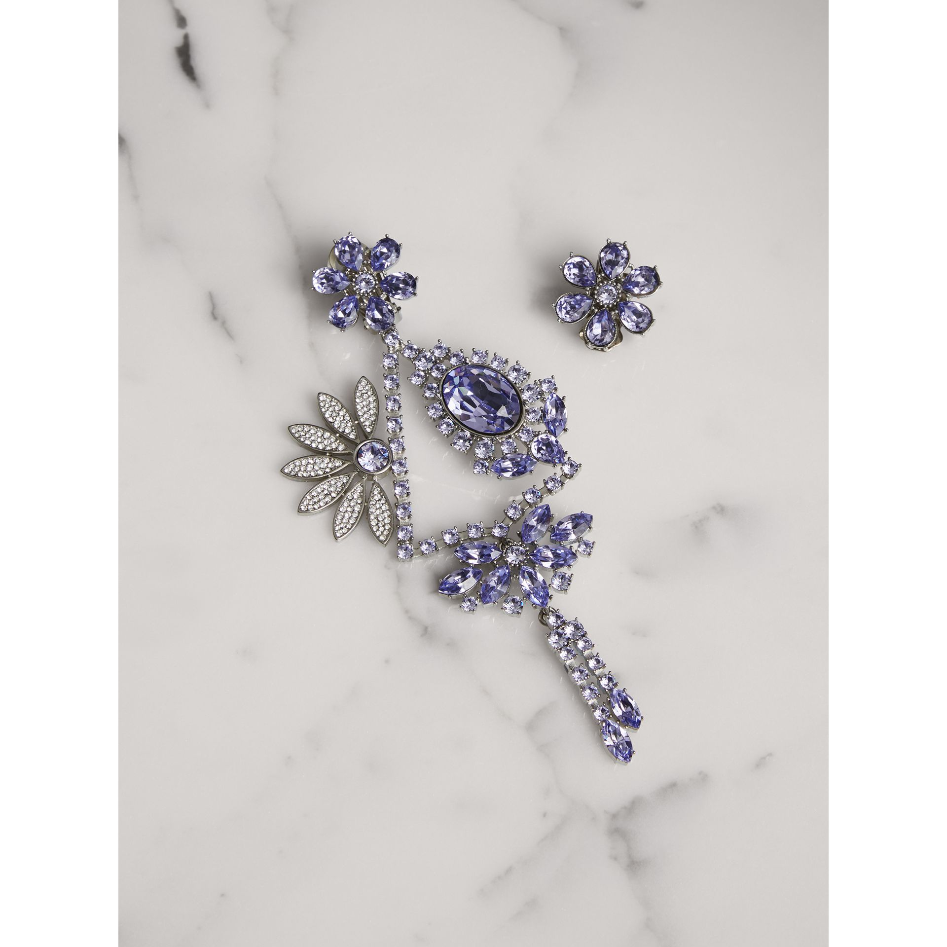 Crystal Daisy Chandelier Earring and Stud Set in Lavender Blue - Women | Burberry United Kingdom - gallery image 0