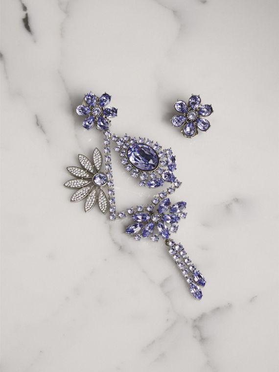 Crystal Daisy Chandelier Earring and Stud Set in Lavender Blue