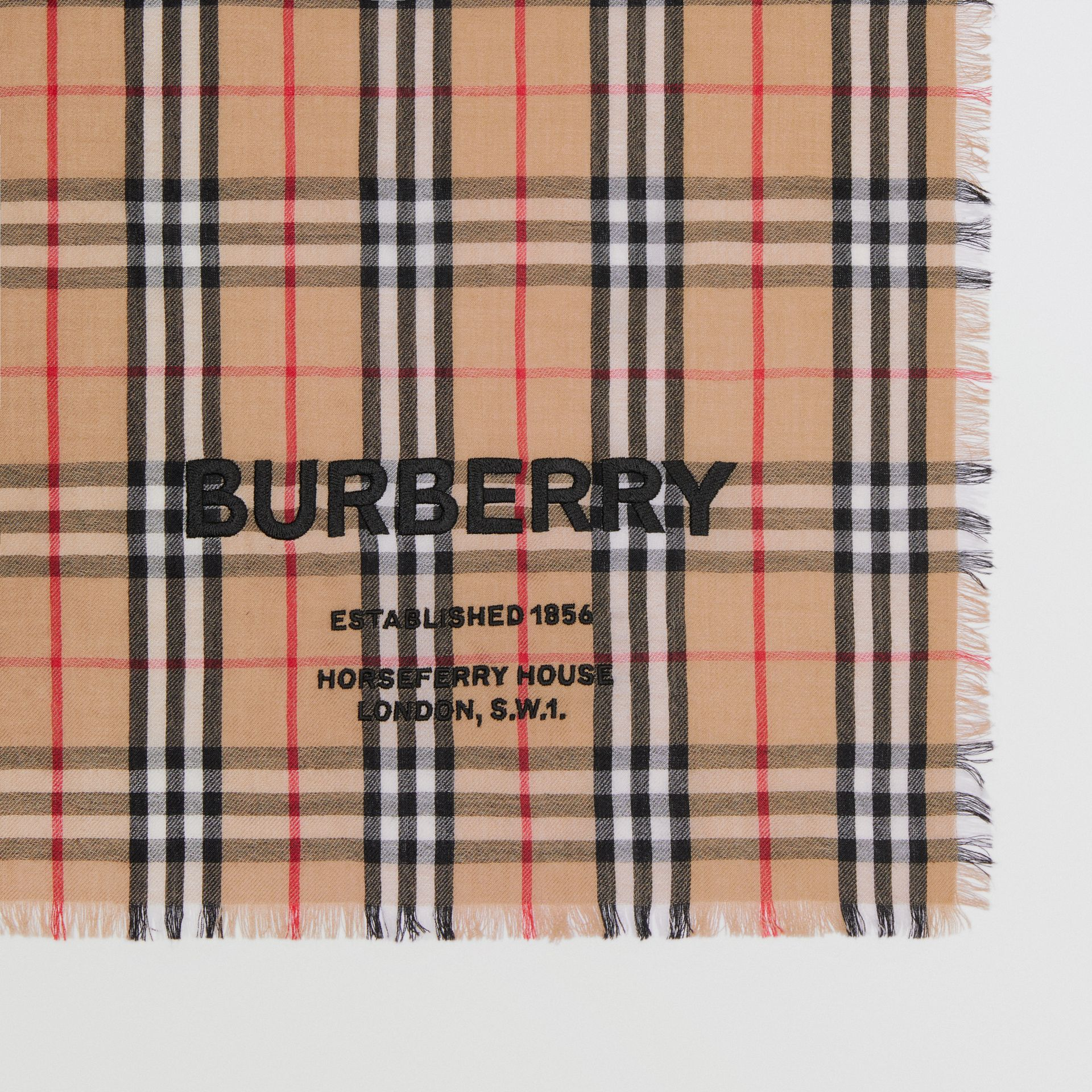 Embroidered Vintage Check Lightweight Cashmere Scarf in Camel | Burberry Singapore - gallery image 7