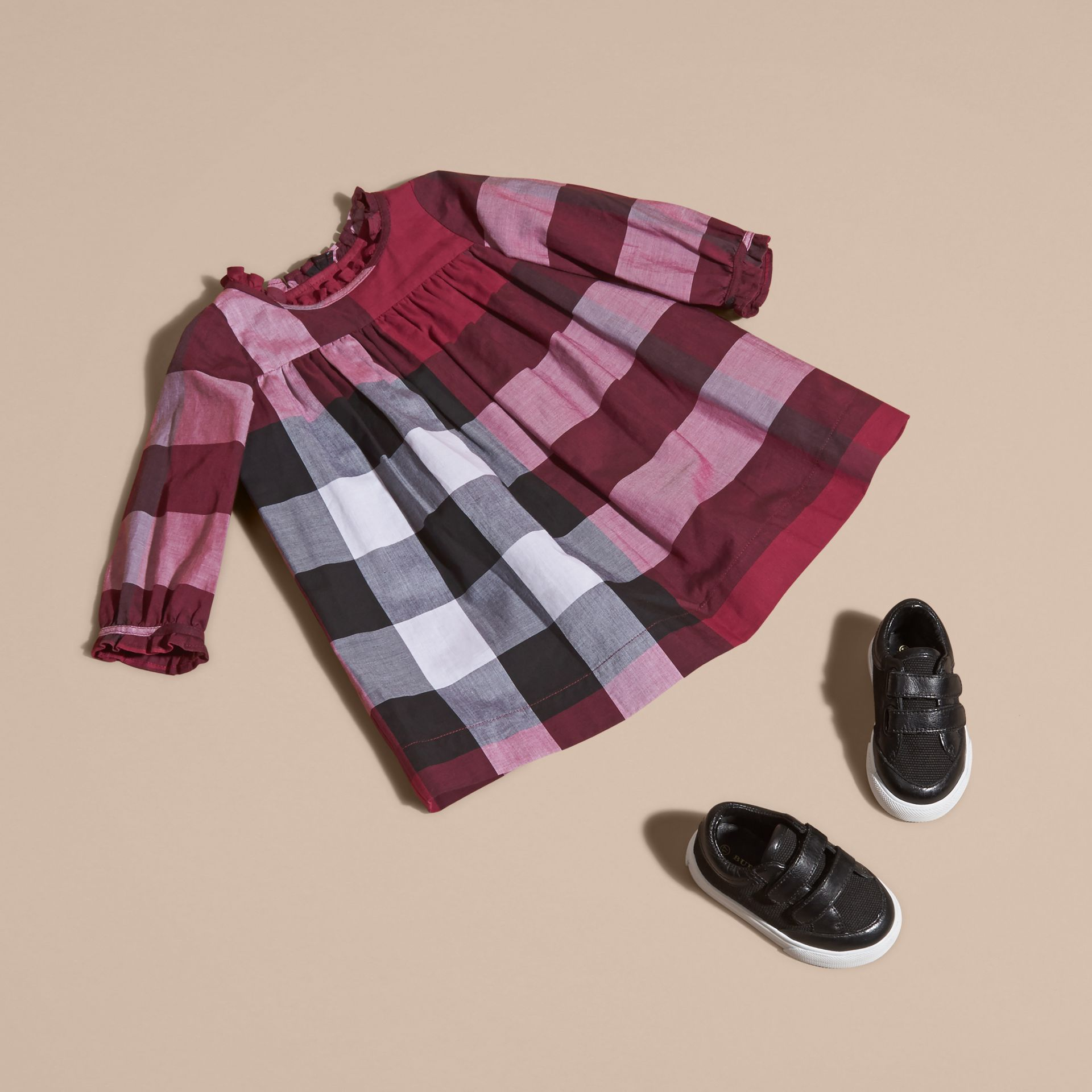 Dark plum pink Check Cotton Dress with Ruffle Detail Dark Plum Pink - gallery image 5