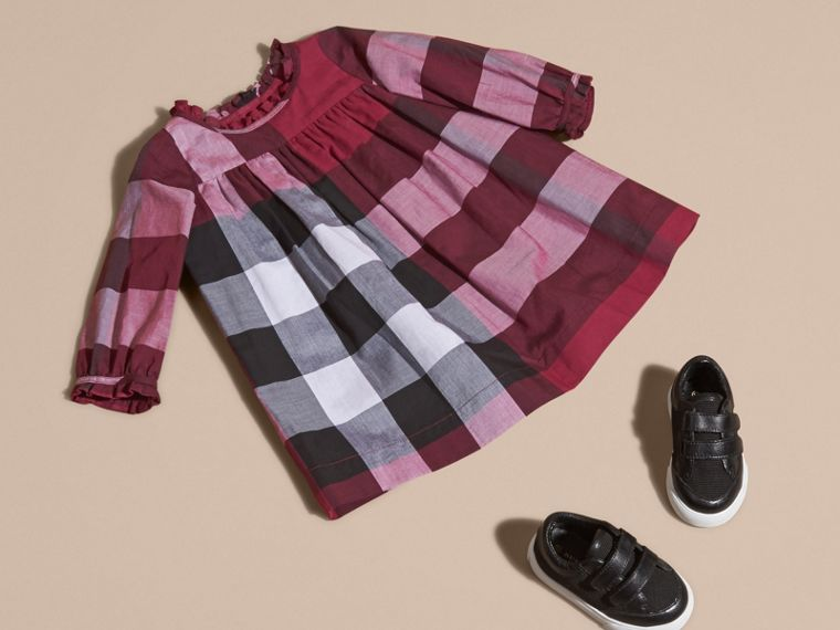 Dark plum pink Check Cotton Dress with Ruffle Detail Dark Plum Pink - cell image 4