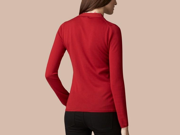 Rosso militare Cardigan in lana con paramontura con motivo check Rosso Militare - cell image 2