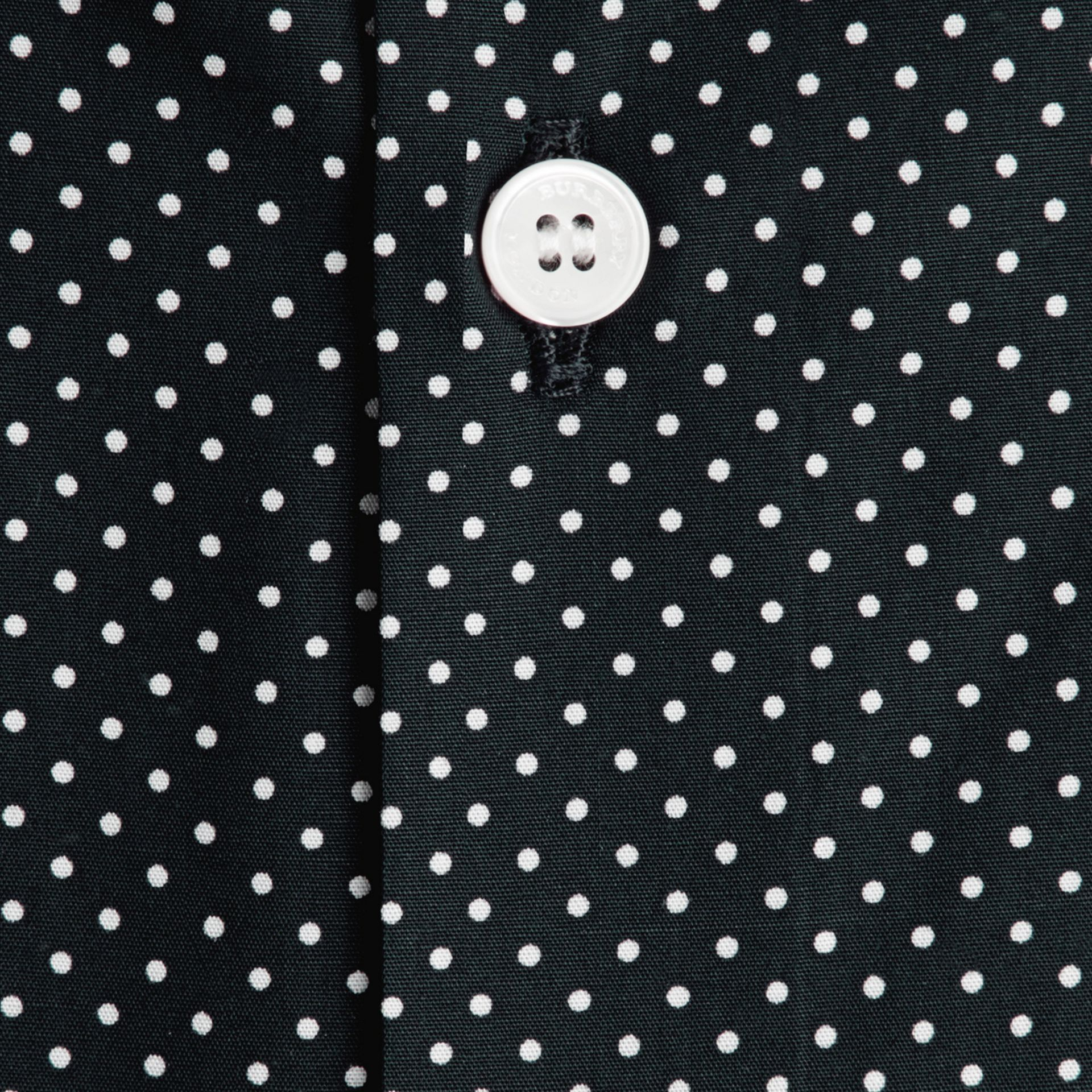 Ink Slim Fit Polka Dot Cotton Shirt Ink - gallery image 2
