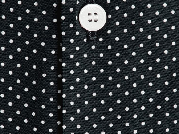 Ink Slim Fit Polka Dot Cotton Shirt Ink - cell image 1