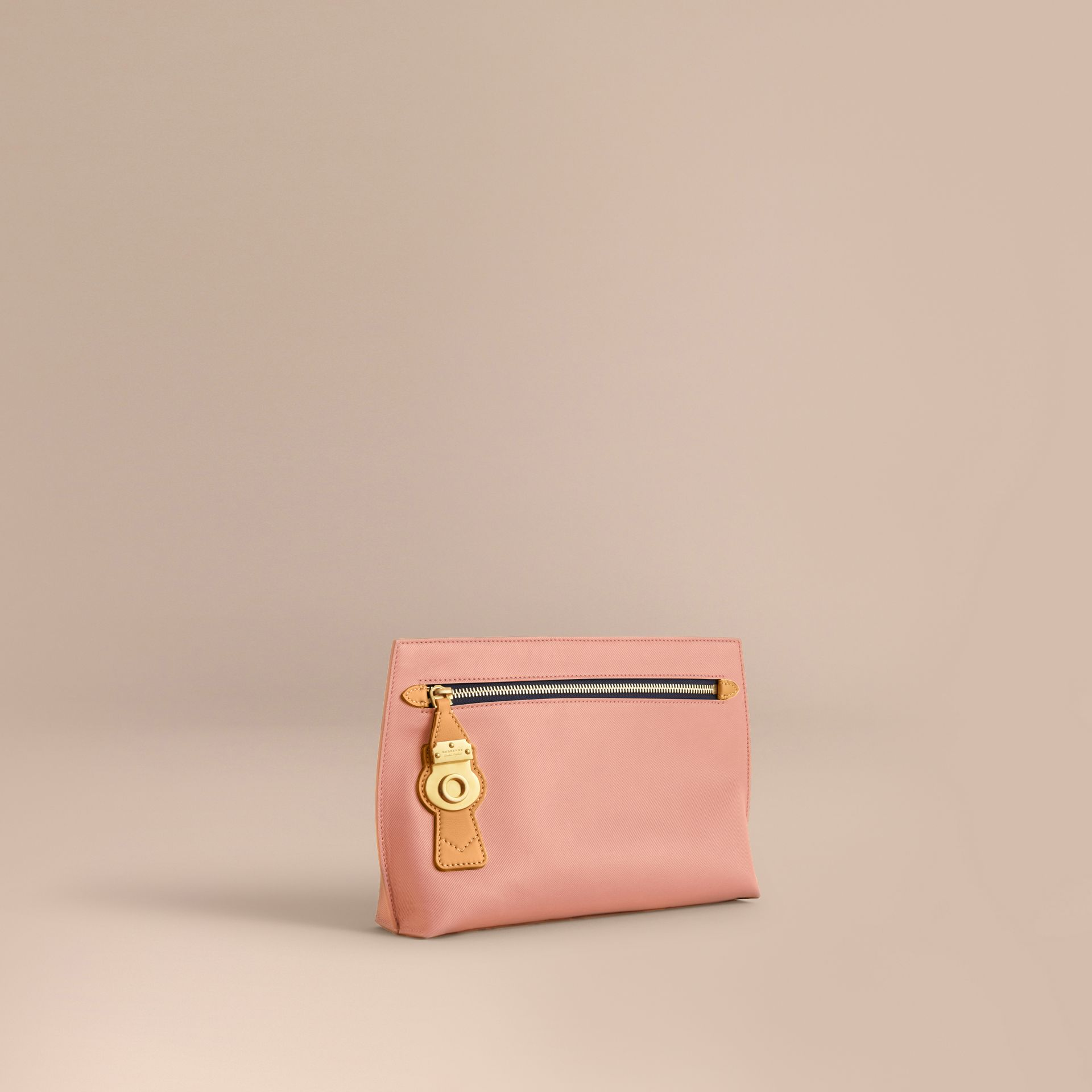 Two-tone Trench Leather Wristlet Pouch Ash Rose/pale Clementine - gallery image 1