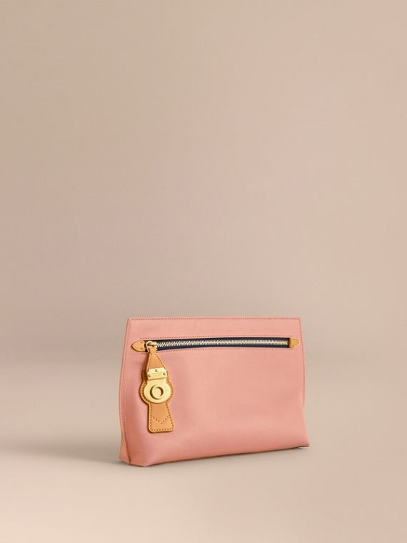 Two-tone Trench Leather Wristlet Pouch in Ash Rose/pale Clementine