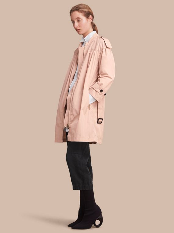 Lightweight Ruched Coat in Antique Taupe Pink - Women | Burberry