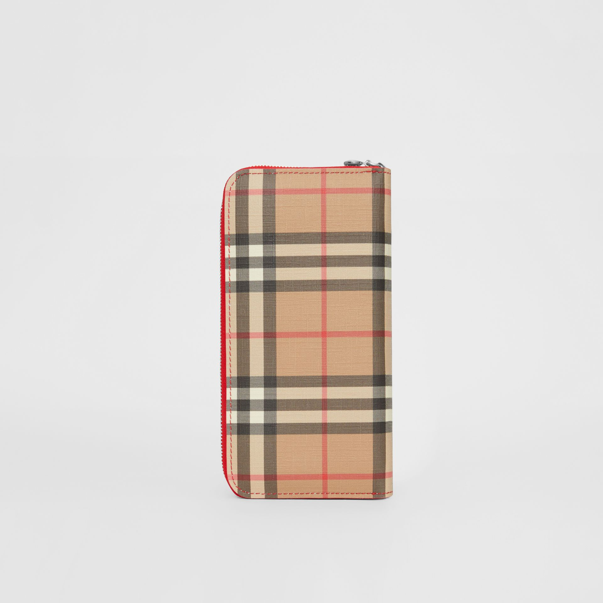 Vintage Check and Leather Ziparound Wallet in Bright Military Red - Women | Burberry Singapore - gallery image 4
