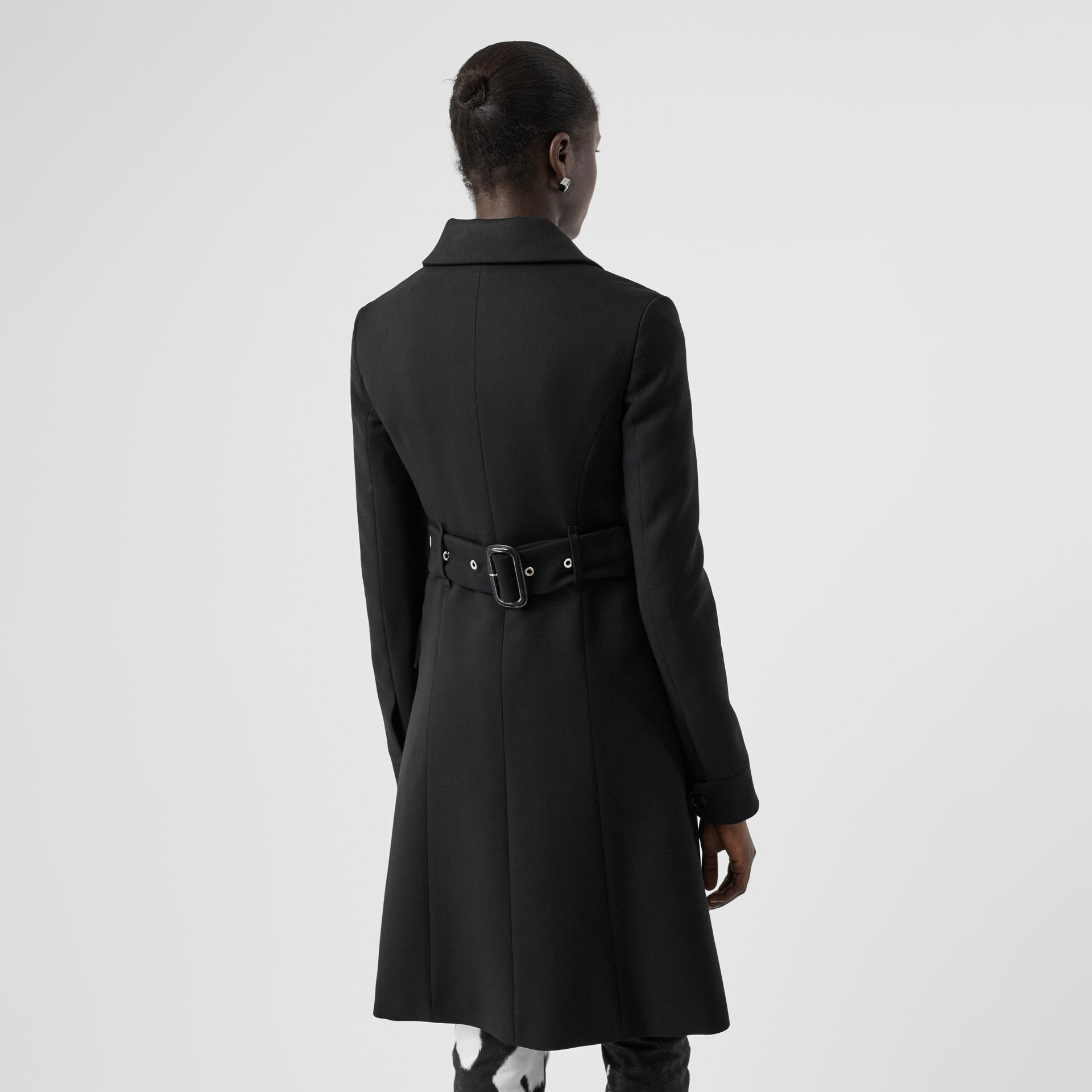 Wool Silk Tailored Coat in Black - Women | Burberry - gallery image 2