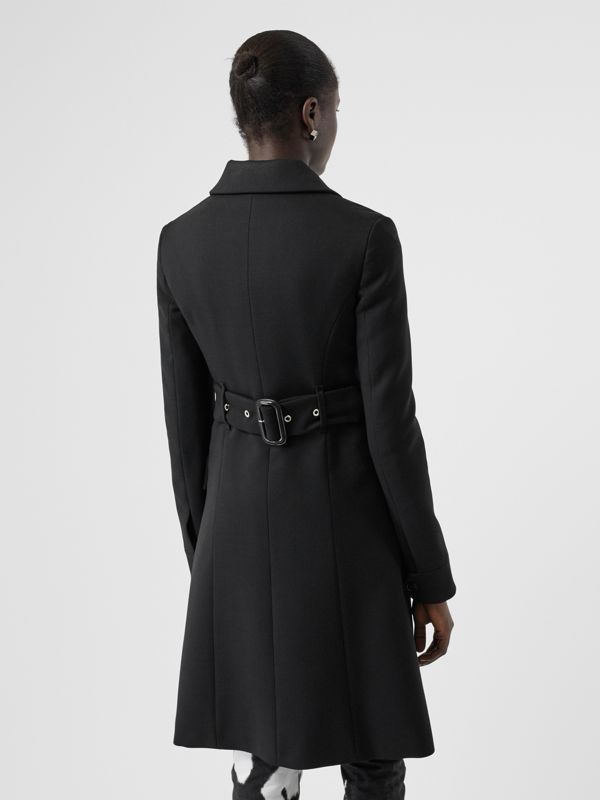 Wool Silk Tailored Coat in Black - Women | Burberry Canada - cell image 2