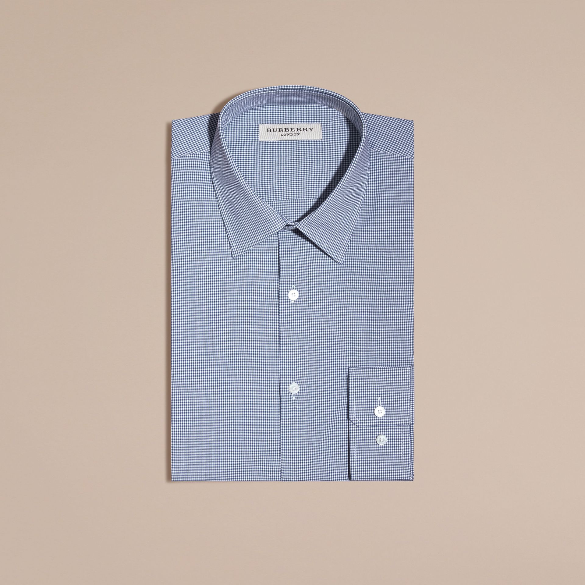 Slim Fit Gingham Cotton Poplin Shirt in Dark Empire Blue - gallery image 4