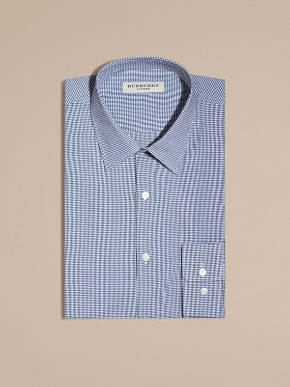 Slim Fit Gingham Cotton Poplin Shirt in Dark Empire Blue - Men | Burberry - cell image 3