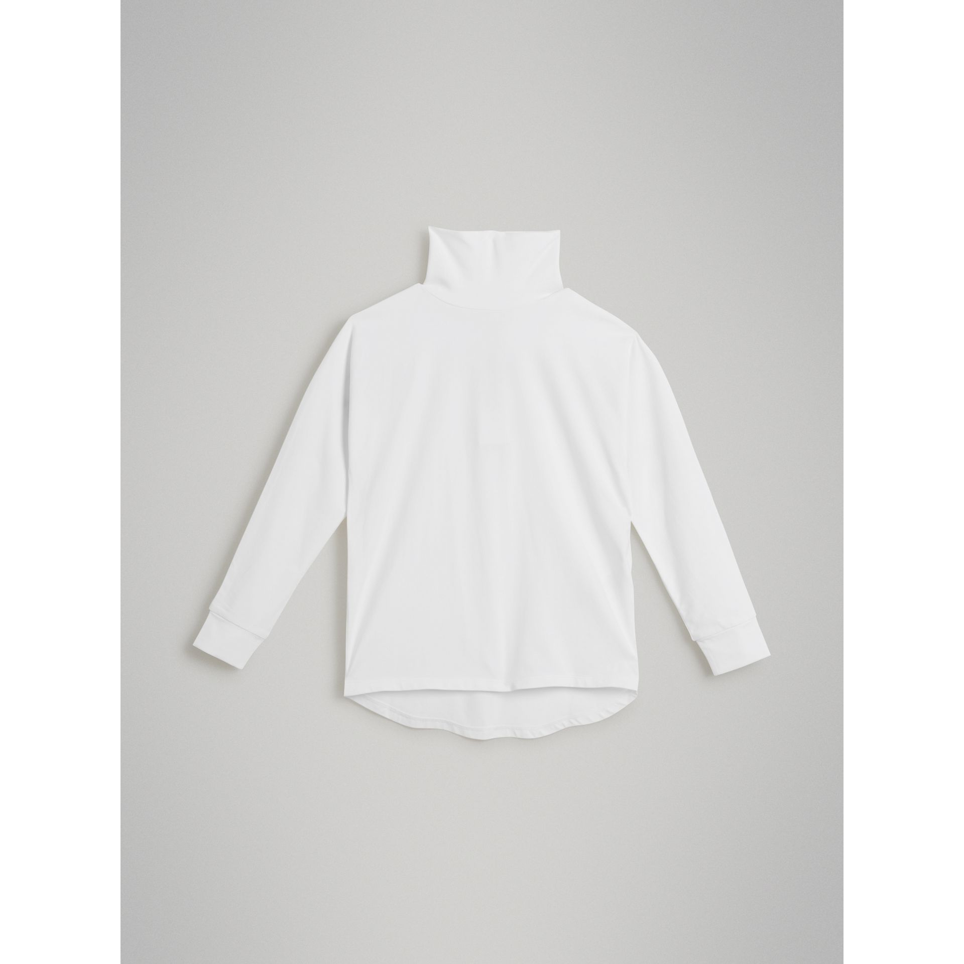 Logo Print Stretch Cotton Roll-neck Top in White | Burberry - gallery image 0