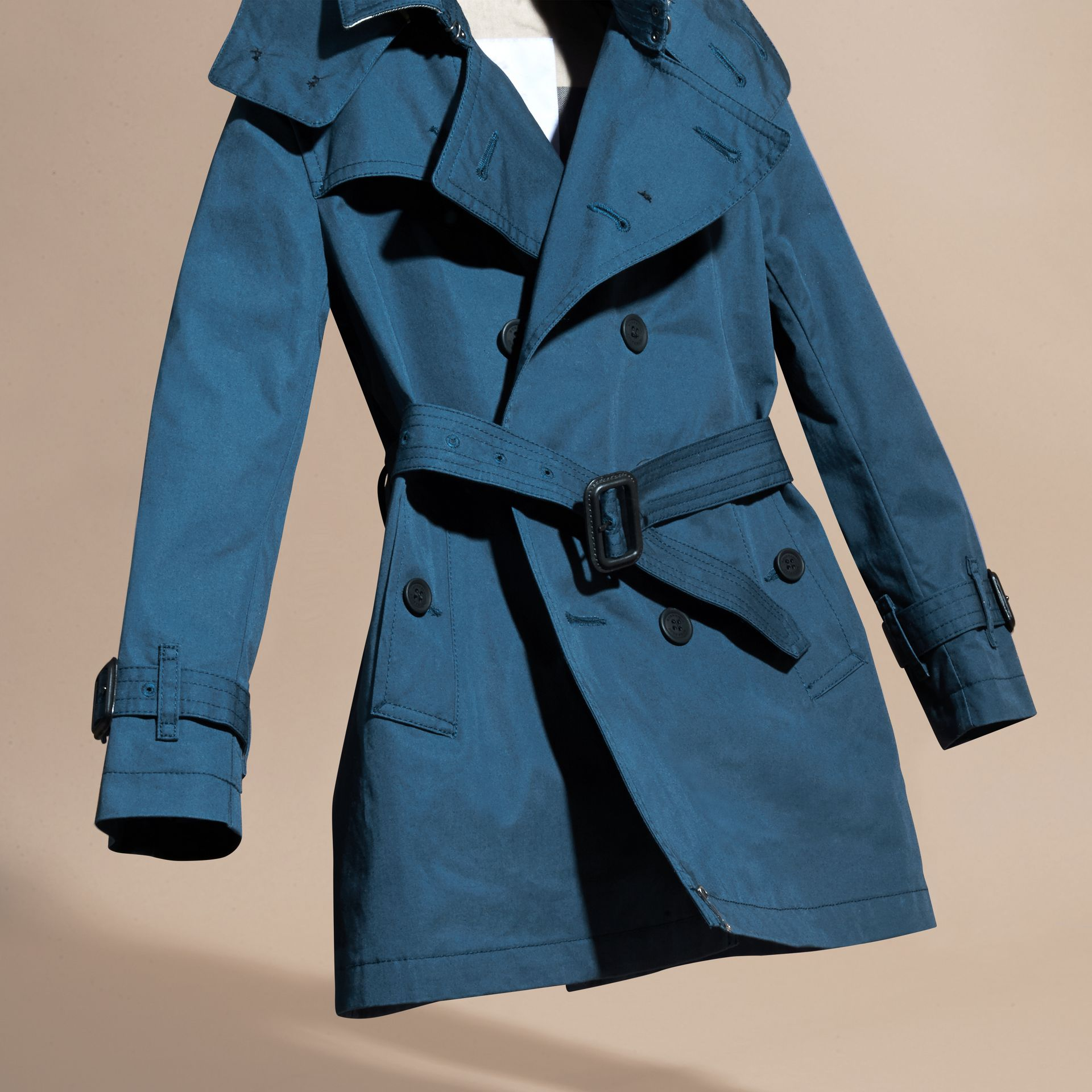 Pale indigo Hooded Cotton Twill Trench Coat Pale Indigo - gallery image 3